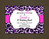 Purple Leopard Animal Print Birthday Invitation Printable File, Pink, For Girls