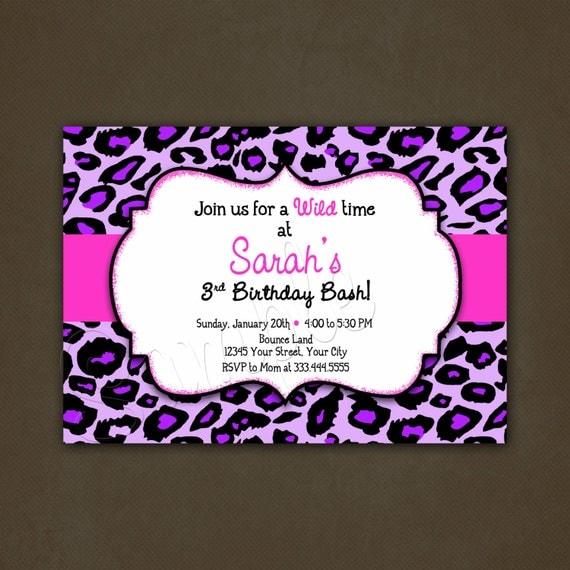 Purple leopard animal print birthday invitation printable for Leopard print invitations templates