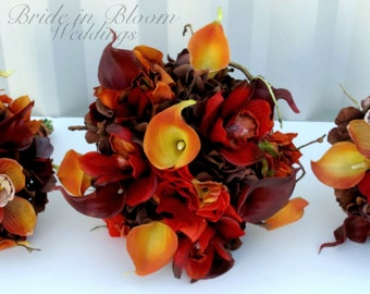 Fall wedding bouquet set, Autumn wedding flowers - Red orange and brown Bridesmaid bouquets, Boutonnieres