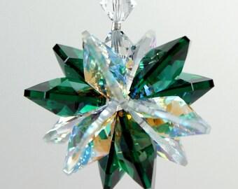 Suncatcher m/w Swarovski® crystal, Emerald Green and Aurora Borealis Starburst Star Ornament, Pearl Place N More