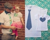 Matching Set for Daddy and Daughter Tie Shirt for Dad and Heart Tee Bodysuit for Her.  Daddy's Girl, New Dad, Baby Girl, Gift Holiday Outfit