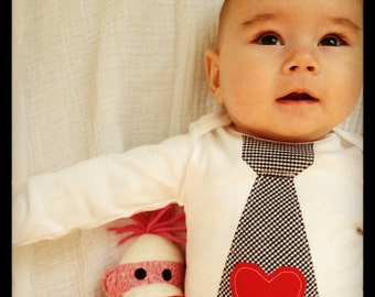 Baby's 1st Valentine's Day Mother's Day, I Love, Dad Mom Rule, Baby Boy Red Heart Appliqued on Any Tie Bodysuit. Black & White Plaid XOXO