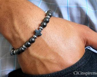 Hematite Cross Christian Bracelet for Men