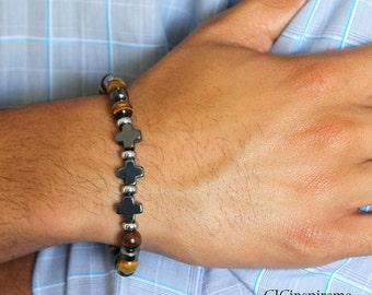 Men's Tiger eye and Hematite Cross Bracelet for Christian Men