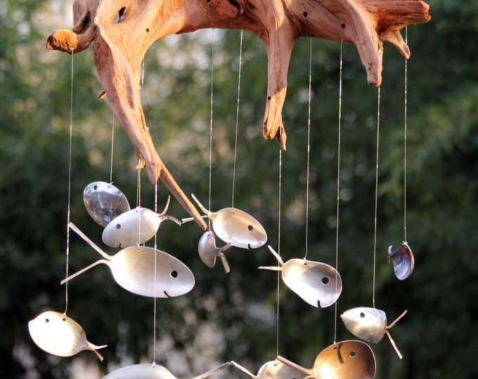 Gnarly Driftwood And Spoon Fish Windchimes, Masculine Patio Decor, Unique Garden Art, Natural Wood, Silverplate, Cedar, Stump, Tree Roots
