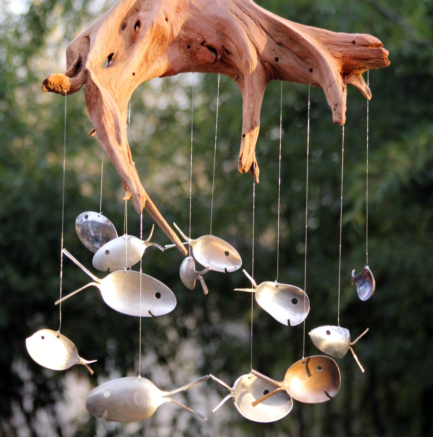 Gnarly driftwood and spoon fish windchimes masculine patio for Fish wind chimes
