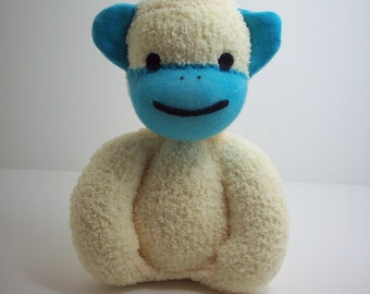 Monkey stuffed toy plush for newborn babies and toddlers in yellow and blue, child safe plsuh sock monkey toy, baby shower gift