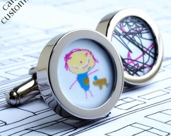 Custom Cufflinks of Your Children's Drawings, Paintings or Computer Art Work WITH EXPRESS SHIPPING