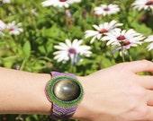 FIBER and golden sheen OBSIDIAN STONE cuff bracelet, purple and green cavandoli macrame bracelet handmade by ARUMIdesign