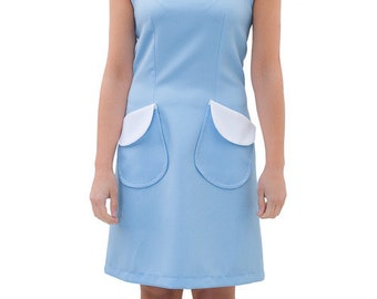 Mod Peter pan white collar baby blue dress A line 60s scooter