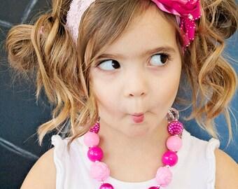 Valentines headband - Gorgeous Pink Lace Headband - Baby Girl Toddler Child Pink Headband - Birthday Girl Headband - Great Photo Prop