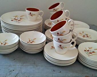 Vintage Taylor Smith & Taylor Heirloom China Dinnerware - Tea Party Settings for 6 (almost) - Near MINT - Autumn Harvest - Ever Yours U.S.A.