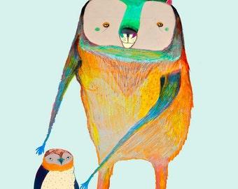 Nursery Art Print - Baby Boy Nursery Decor - Kids poster - ''Penguin and bear Friend''.