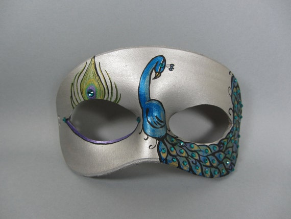 Silver and Teal Peacock Leather Mask