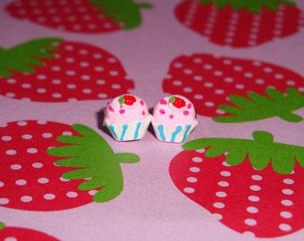 Tiny Strawberry Cupcake Earrings