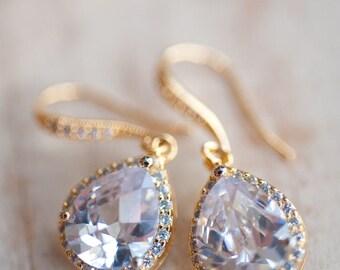 Drop earrings bridal jewelry gold earrings vintage earrings Wedding jewelry winter bride estate style bridal earrings