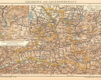 1905 Antique Dated Map of Salzburg and Salzkammergut, Austria
