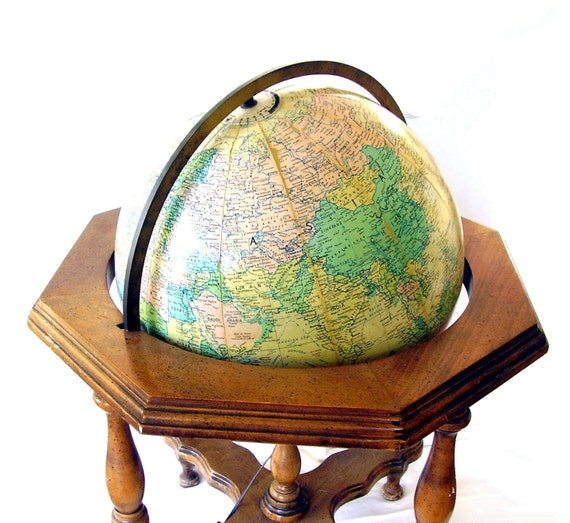vintage world globe lamp replogle wood table stand
