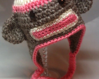 Sock Monkey Earflap for Newborn