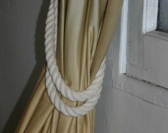 Cotton Curtain Tie Back Off White Rope Nautical Decor Window Treatment Beach Decor