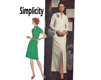 Jiffy Knits Size 12mp Bust 34 Miss Petite Easy Cut Easy Sew 1970s UNCUT Sewing Pattern Simplicity 5320 Dress long evening raglan sleeves