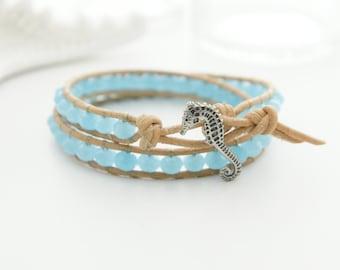 Seahorse Leather Bracelet Beach Bracelet Friendship Bracelet Beaded Bracelet Leather Wrap Bracelet Boho Mermaid Nautical Bracelet Gift