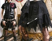 Goth/punk Vamp 4-tier Corset Bat Wing / Cobweb Lace Skirt