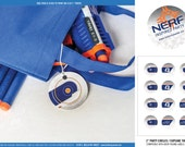 Nerf Party Circles - Printable Birthday Party Decorations - PERSONALIZED - Blue/Orange