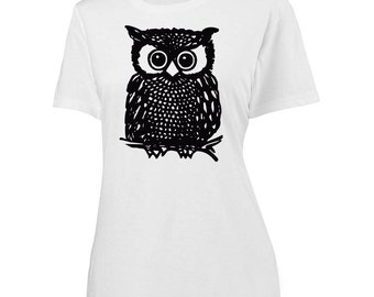 Womens Owl Screen Printed Shirt