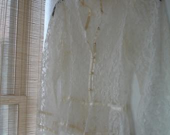 Gunne Sax Lace Jacket or Blouse, Delicate Lace w/ Satin Ribbon Trim & Pearl Buttons