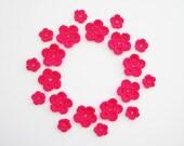 Crochet Flower Applique, Neon Pink Bright Crazy Pink, Set of 20