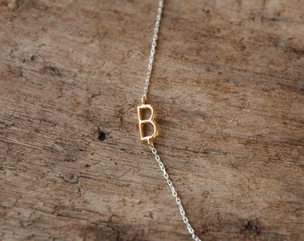 sideways initial necklace, initial necklace, monogram necklace, personalized necklace, custom letter necklace, bff gift, birthday day gift