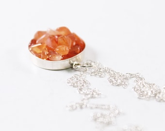 Orange carnelian necklace sterling silver unique gemstone jewelry New Age jewelry, natural crystal necklace, genuine stone necklace