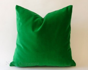 Kelly GreenCotton Velvet Pillow Cover - Decorative Accent Throw Pillows -Invisible Zipper Closure -Knife Or Piping Edge -16x16 to 26x26