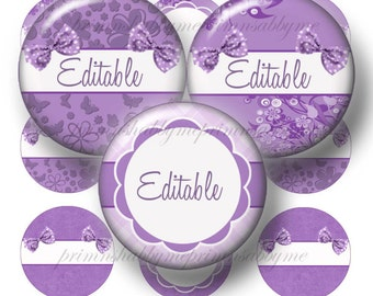 PURPLE, 1 Inch Circles, Editable Bottle Cap Images, Digital Collage Sheet, Bottle Caps, For Cupcake Toppers, Pendants, Bows, Magnets, (No.8)