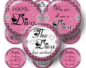 DIVA, Bottle Cap Images, 1 Inch Circle, Digital Collage Sheet, Pink, White, Sayings, Instant Download, Bottle Caps, Pendants, Magnets, Bows