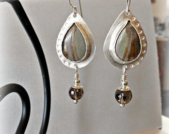 Earthy Picasso Jasper and Forged Sterling Silver Earrings with Smoky Quartz