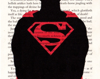 Superman Printed Illustration on Page from Nietzsche Novel.