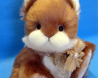 OOAK beige mohair and buttermilk faux fur artist bunny rabbit, Hunny by YuYu Bear