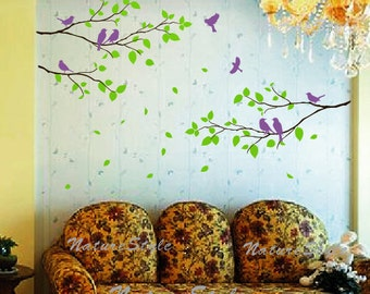 wall decal branches wall decal flying birds nursery wall decor  baby decal room decor - Three Branches with Flying Birds