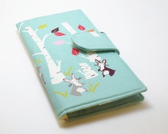 Women's Wallet, Organic Fabric Clutch, Vegan Wallet, Woodland Animals and Birch Trees, Teal - Made to Order