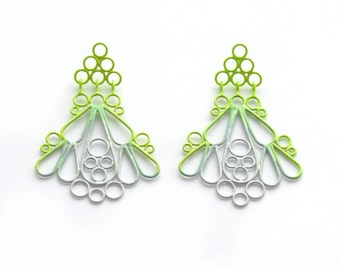 triangle post ombre drop earrings, neon green to grey, statement earrings, large wirework powdercoat earrings with post, SALE 50% OFF