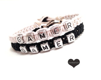 Gamer Bracelet, Gamer Gift, Couples Gift, Nerd Gift, 2 Black White Bracelets, Eco Friendly Jewelry, Nerd Couple, Geek Couple, Geek Gift