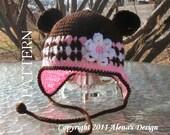 Crochet Pattern  001 - Crochet Hat Pattern - Hat Crochet Pattern for Hat with Bear Ears - Ear Flap Hat Baby Children Winter Hat Booties
