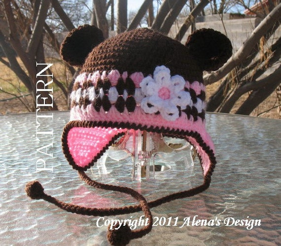 Crochet Pattern  001 - Crochet Hat Pattern - Hat Crochet Pattern for Hat with Bear Ears - Ear Flap Hat Baby Children Winter Hat Booties