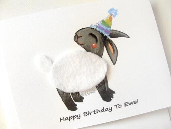 Funny Card Black Sheep Card Happy Birthday To Ewe Farm – Sheep Birthday Cards
