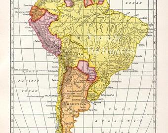 Antique 1950s SOUTH AMERICA Vintage Map atlas page