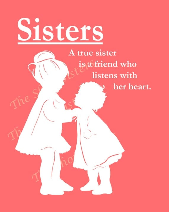 Sisters Poem Silhouette Pink And White 8 X 10 Print Wall Art FREE SHIP