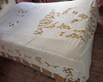 Art Deco hand embroidered lace bedspread throw coverlet bed spread w tassels roses antique French lace embroidery artdeco vintage bed linens
