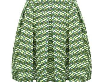 Pleated Dots Skirt, Aline Skirt, 50s Skirt, 50s Fashion, Designers Skirt, Cotton Skirt, Summer Skirt, Green and Yellow